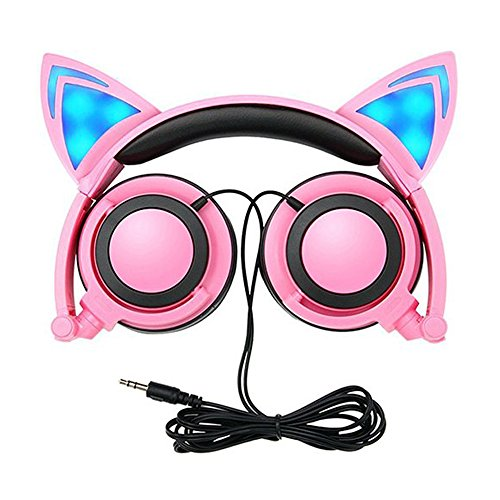 Kopfhörer Kinder, LIMSON Cat-Kopfhörer Faltbar Wired Kopfhörer mit LED Licht Blinklicht Glowing für Kinder Erwachsene, 3,5 Klinke für PC, Tablets, iPhone, Android Smart Phone (Rosa)
