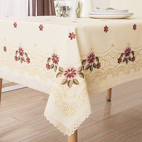 Decorative Red Floral Print Lace Water Resistant Tablecloth Wrinkle Free and Stain Resistant Fabric Tablecloths for Rectangle Table 60 Inch by 120 Inch
