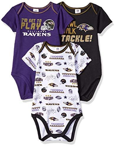 NFL Baby Boys 3 Pack Short Sleeve Bodysuit, Blue/Black/White Baltimore...