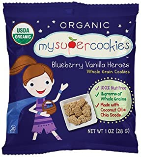 MySuperCookies, Blueberry Vanilla Heroes, 100ct-1oz (Bulk Snacks, Organic, Nut Free, Kosher, Whole Grain) (Blueberry Vanilla Heroes)