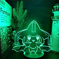 USBナイト子供用ライトセンサーポケモンモンスターJirawi子供のフィギュアルームの装飾ライトLEDマンガポケモン3Dクリスマスギフトランプ-黒いベースのリモート