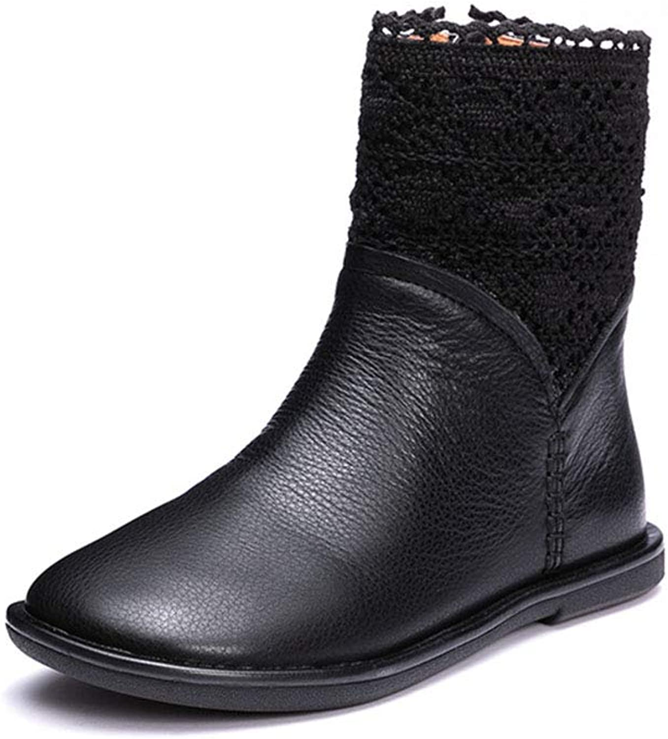 Women's Booties, Flat Fashion Knit Splice Leather Booties Fall Winter Round Head Ladies Flat Heel Martin Boots (color   A, Size   39)