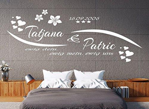 tjapalo® Wandtattoo Schlafzimmer Wohnzimmer Wandtatoo mit Namen Wandspruch Sprüche ewig dein ewig mein mit 2 Namen Datum pk76 (B150 x H58 cm (Top))