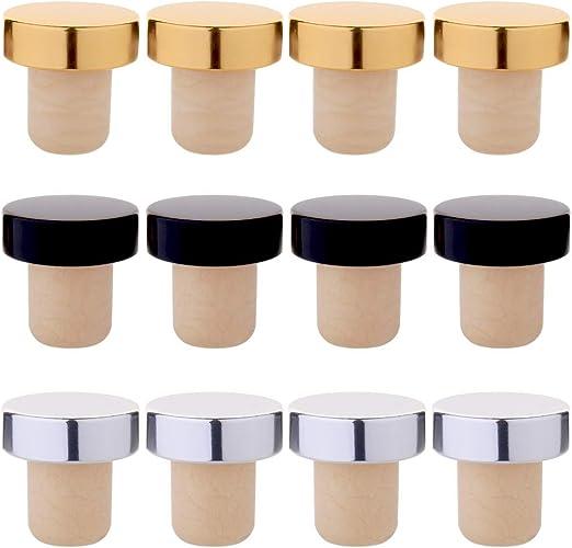 Tastebar Wine Stoppers,12pcs Wine Corks,T-Plug Cork,Reusable Red Wine Bottle Stopper,Sealing Plug Bottle Cap,Sub-Gold Red and Blue Set of 4