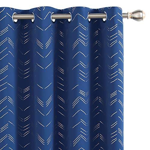 UMI. by Amazon Cortinas Salon Opaca de Dibujos Líneas con Ollaos 2 Piezas 140x245cm Azul Oscuro