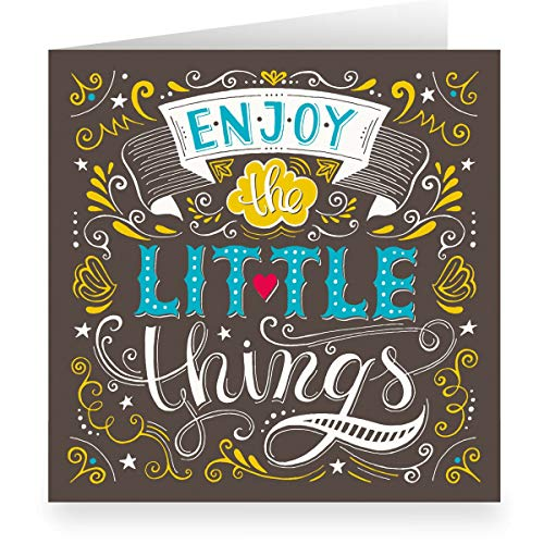 Coole handlettering verjaardagskaart om te feliciteren (vierkant, 15,5 x 15,5 cm met envelopp) Enjoy the Little things - grote XL motto spreuk kaart 24 Grußkarten