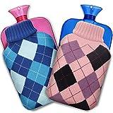 XIMU Bolsa de Agua Caliente, Botellas de agua caliente 2 L (2 paquete)Bolsa de agua caliente extraíble y lavable para el cuerpo del pie y la mano Mantener el calor Alivio del dolor Comodidad