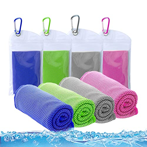 ICECUUL Cooling Towel 4 Packs (44'x15') Stay Cooling Towel, Mesh Soft Breathable Cooling Rags Gym Towel for Dogs, Athletes, Yoga, Sport, Travel, Workout, Camping, Fitness, Running, Golf,110x38cm