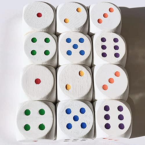 Spieltz Dadi speciali in legno per giochi da tavolo, colorati, 12 pezzi