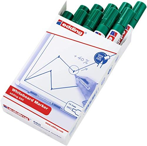 Edding 660-004 - Marcador para pizarra blanca, 10 unidades, color verde