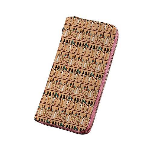 エジプト パーソナライズ 財布 長財布 エジプトのテーマ神話の漫画のキャラクター考古学の歴史イラスト装飾的 ラウンドファスナー 小銭入れ 多色