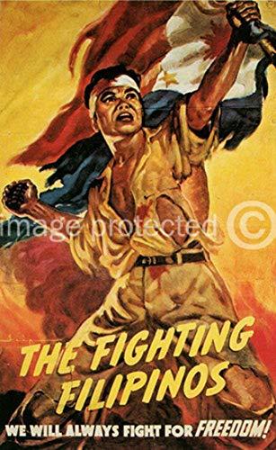AGS - The Fighting Filipinos Vintage World War II Two WW2 WWII USA Military Propaganda Poster - 24x36