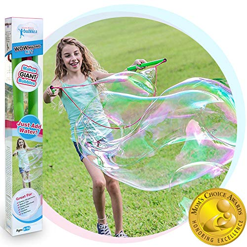 WOWmazing Giant Bubble Wands Kit: (4-Piece Set) | Incl. Wand, Big Bubble Concentrate and Tips & Trick Booklet | Outdoor Toy for Kids, Boys, Girls | Bubbles Made in The USA