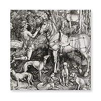 INVO セントユーステース版木 銅版 版画バイアルブレヒトドゥラー アートパネル アートフレーム キャンバス印刷 インテリア モダン 壁掛け 40×40cm