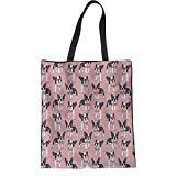 HUGS IDEA Boston Terrier Linen Tote Bag Ladies Hipster Shoulder Bag Beach Yoga Casual Handbags