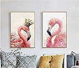 ganlanshu Pittura Senza Cornice Nordic retrò Coppia Uccello Rosa Decorazione Pittura su Tela Pittura Arte Poster Soggiorno ZGQ4074 30X45cmx2