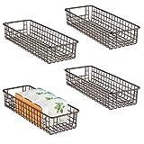 mDesign Set da 4 porta oggetti ideali come cestini per il bagno – Cestino portaoggetti versatile e multiuso – bronzo