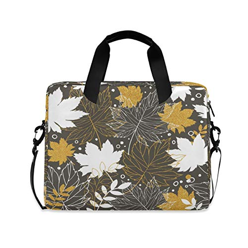 Gold Autumn Leaves 16 inch Laptop Shoulder Bag Travel Laptop Briefcase Carrying Messenger Bags