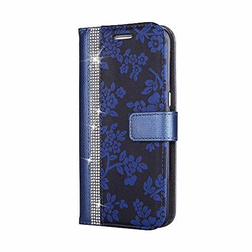 Galaxy S7 Edge Étui Housse, Billionn 3D Bling Bling Fleur Motif PU Cuir Portefeuille Flip Magnétique Coque Etui pour Samsung Galaxy S7 Edge (Bleu)