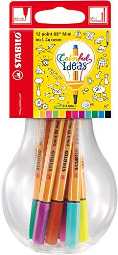 Fineliner - STABILO point 88 Mini - Colorful Ideas - 12er Pack - mit 12 verschiedenen Farben in wiederverschließbarer Glühbirne