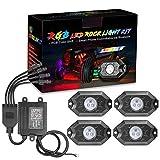 RGB Rock Light Kits, OFFROADTOWN RGB LED Rock Lights with 4 pods Lights Neon Trail Rig Lights Underglow Off Road Truck SUV UTV ATV Boat