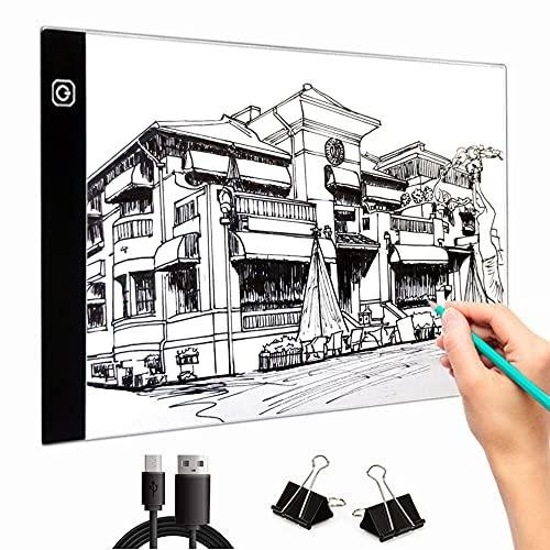 BTGGG A4 Leuchttisch Kinder a4 Lightpad Dimmbare Helligkeit LED Leuchtkasten Leuchtplatte mit USB Kabel Zeichenbrett zum Diamond Painting Malen Animation