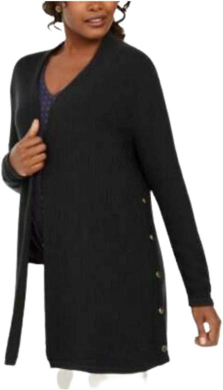 JM Collection Cotton Side-Button Open-Front Cardigan Deep Black, Large