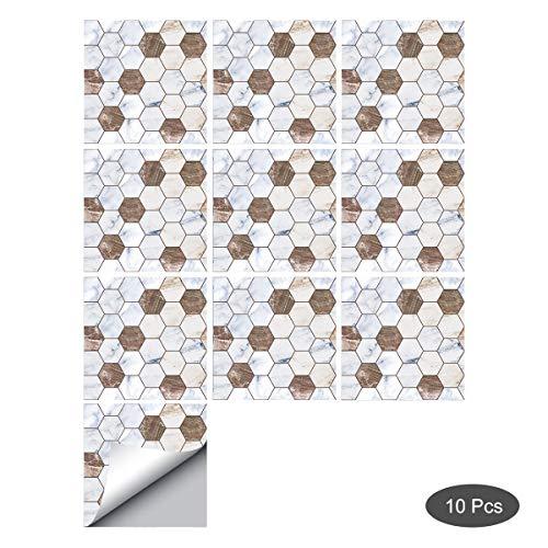 decalmile 10 Stück Fliesenaufkleber 15x15cm Braun und Weiß Hexagon Mosaik Marokkanische Porzellan Wandfliese Fliesensticker Küche Badezimmer Deko