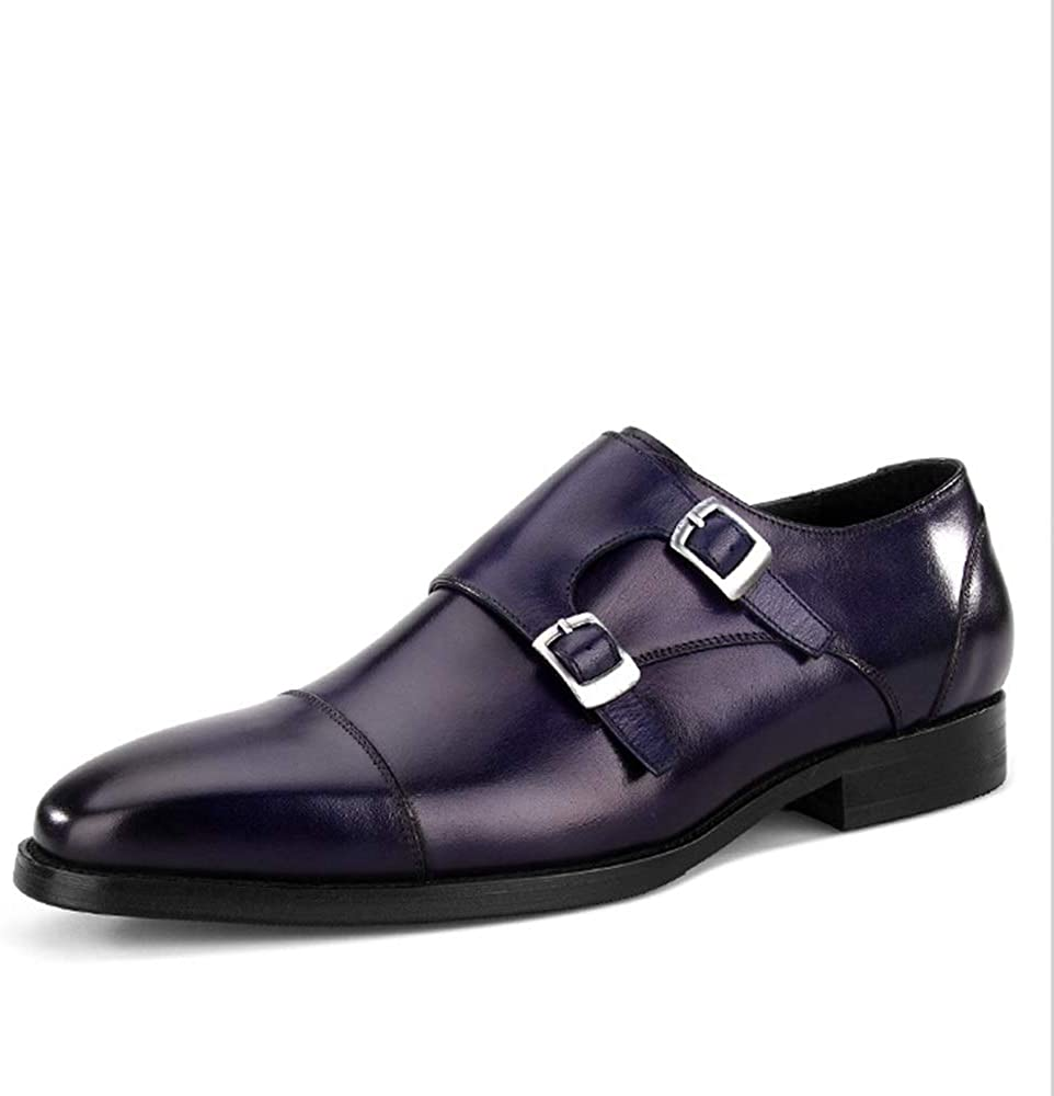 Rui Landed Premium Leather Oxfords for Men Monk Strap Low Block Heel Captoe (Color : Blue, Size : 8 M US)