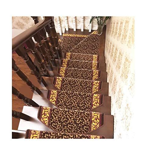 Hengutongxun - Alfombrillas de escalera antideslizantes de madera maciza para el hogar (65 x 24 x 3 cm), color marrón
