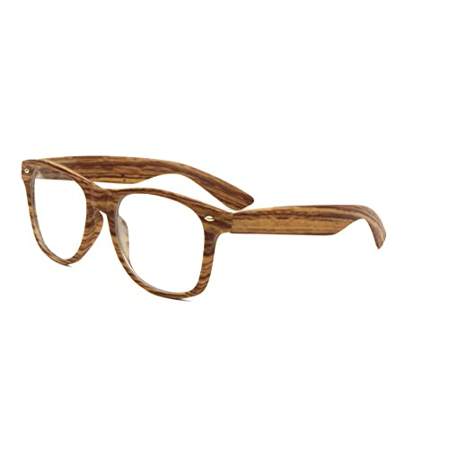 eac0a6c7d Unisex Retro Classic Glasses Wood Pattern Frame Clear Or Dark Lens
