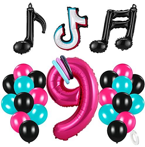 9 Años Decoración de Cumpleaños Fiesta de Música Gigante Número 9 (100 CM) Decoración de Fiesta Musical de Tik Tok Globos de Látex Lámina Azul Tiffany para Adultos Niños Niñas