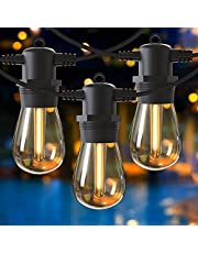 GlobaLink lichtketting buiten gloeilampen, 16M S14 lichtketting tuin uitbreidbaar IP65 waterdicht warm wit, lichtketting balkon 15er 1W led-lampen met 1 reservelamp voor terras tuinfeest bruiloft