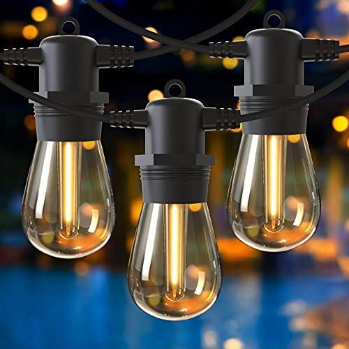 Catena Luminosa Esterno, GlobaLink S14 Luci Esterno Giardino 16M/53FT con 15 + 1 Lampadine, IP65 Impermeabili Catene Luminose per la Decorazione di Feste Natale Giardino Matrimonio Patio-Bianco Caldo