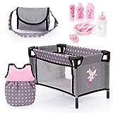 Bayer Design- Accesorios para muñecos bebé, 11 en 1, Kit Cuna de viaj, Saco de Dormir, Bolsa Bandolera y Productos de Cuidado, Color gris, rosa con hada (61766AB) , color/modelo surtido