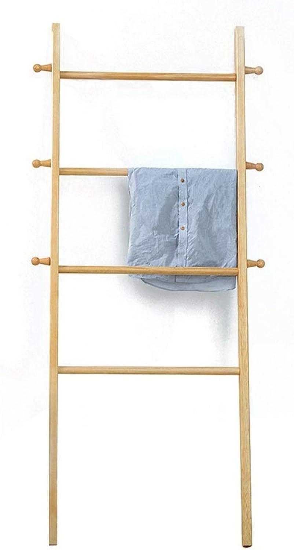 Qi_Hallway Furniture Japanese Style Simple Coat Rack Nordic Wood Hanger Ladder Clothes Rack Porch Study Log Floor Hanger Standing Coat Racks
