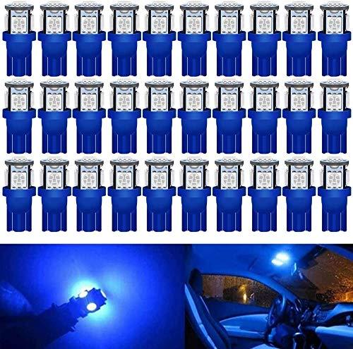 Alopee - Paquete De 30 Azul 194 T10 168 2825 W5w 175158 Bombilla De Repuesto LED 5050 5SMD 12V Iluminación Interior Del Coche Para Luces De Tablero De Placa De Matrícula De Maletero