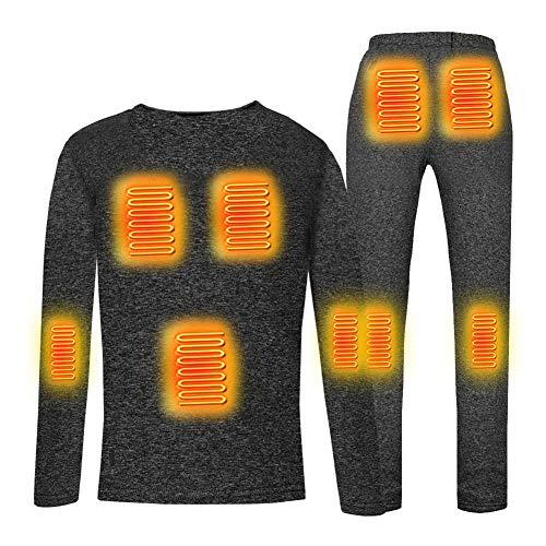 Beheiztes Shirt + Hose, beheiztes T-Shirt, Thermounterwäsche-Set, Damen, elektrisch, beheizbar, Kleidung für Herbst Winter, Grau, XL