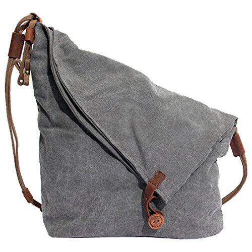 Partiss Unisex koreanische Tasche retro literarischen Hochschule Stil Schultertasche Messenger Bag, onesize,grey
