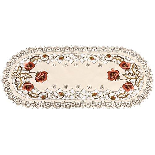 Fdit Gestickte Tischläufer rot Blumen Blume Hohle Tischdecke Esstisch Läufer Hochzeit Party Home Decor(Oval)