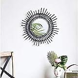 Z-LIANG Mirror Espejo de Pared, de Fondo Decorativo Creativo Rattan Espejo, Vestir Espejo Espejo de Pared Maquillaje