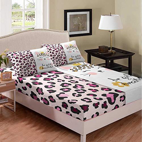 Set di lenzuola con angoli per bambini e bambine, con tasca profonda, motivo leopardo, colore rosa, 3 pezzi (1 lenzuolo con angoli e 2 federe)