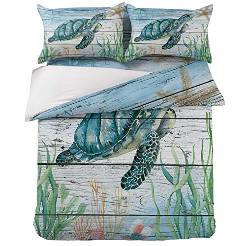 Ultra Soft 4 Pieces Bedding Sets Queen Watercolor Sea Turtle Nautical Theme Luxury Duvet Cover Set with 2 Pillow Shams Bedspread Bed Sheet Ocean Animals