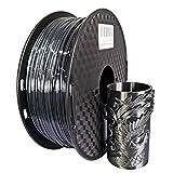シルクPLAブラック フィラメント1.75mm 3Dプリンター フィラメント 1KG スプール シルク黒色PLA あらゆる3D プリンターに対応 3D造形材料素材 (シルクブラック)