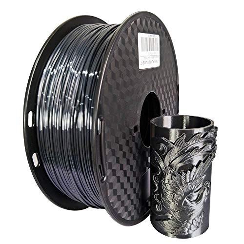 KEHUASHINA PLA Filamento seda negro para impresora 3D 1,75 mm con brillo sedoso de metal dorado PLA 3D, bobina de 1 kg, impresoras FDM 3D ampliamente compatibles