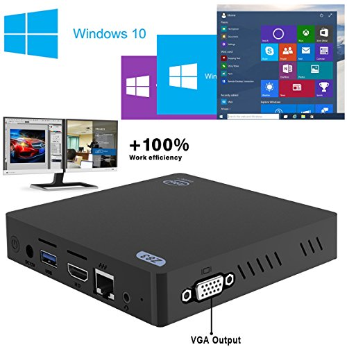 Maxesla Fanless Mini PC con Support for Windows e Linux Intel Atom x5-Z8350 processore 2G RAM 32G SSD Desktop Computer 1000Mbps Gigabit LAN 2.4G+5.8G Dual Band WiFi Piccolo Computer