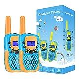 Kearui Walkie Talkie Niños, 2 Pack Walkie Talkie para Niños 8 Canales LCD Pantalla VOX Larga Distancia 3KM, Linterna Incorporado Juguete Regalos para Niños de 3-12 años (Naranja)