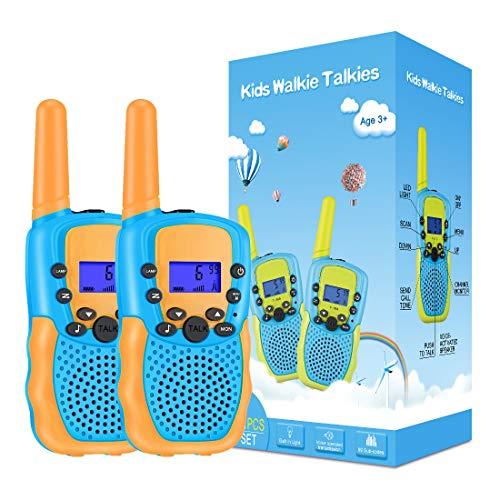 Kearui Spielzeug 3-12 Jahren Junge, Walkie Talkies für Kinder 8 Kanal Funkgerät mit Hintergrundbeleuchteter LCD-Taschenlampe, 3 Meilen Reichweite für Abenteuer im Freien, Camping, Wandern (Orange)