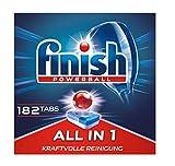 Finish All in 1 Pastiglie per Lavastoviglie per pulizia potente, detersivo per piatti, pacco da 1/4, Gigapack, 182 compresse