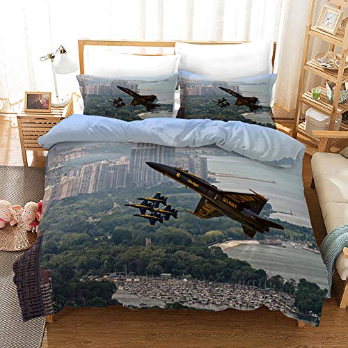 aakkjjzz Single Duvet Cover Sets 3 Pcs Easy Care Luxurious Bedding Set Microfiber for Kids Boys Girl Plane and City Quilt Duvet Cover 135X200cm and 2 Pieces Pillowcases 50X75cm for Double Bed